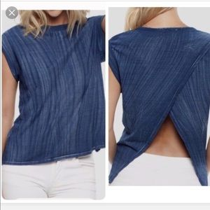 Anthro Cloth & Stone Blue Open Back T Shirt